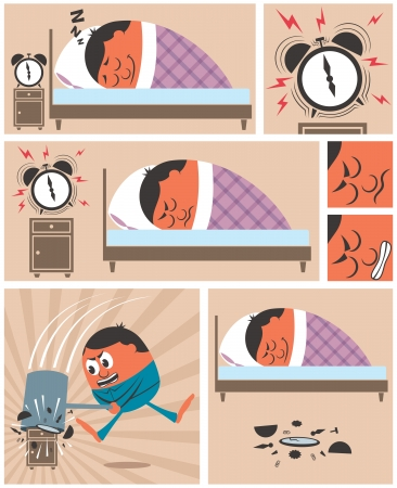 Short story about man having difficulty to wake up in the morning. No transparency and gradients used.  Vector