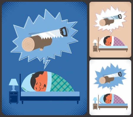 Cartoon illustration of snoring man in 3 color versions  No transparency and gradients used   Vector