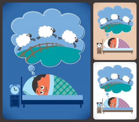 Cartoon illustration of man suffering from insomnia  No transparency and gradients used   Vector