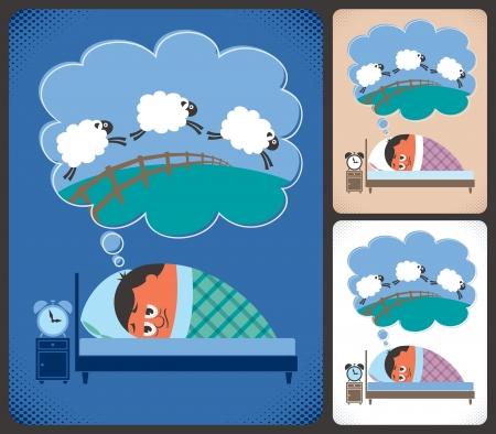 Illustration de dessin animé de l'homme souffrant d'insomnie Aucune transparence et les gradients utilisés
