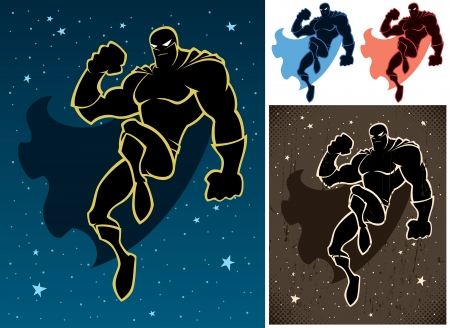 Superhero floating in the sky  Retro version and versions on white background are also included  No transparency and gradients used   Vector