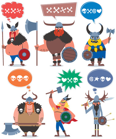 6 cartoon Vikings over white background No transparency and gradients used  Illustration