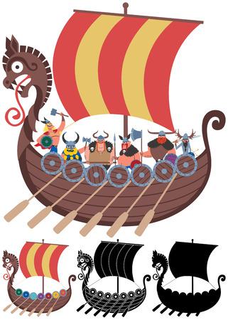4 버전의 투명성과 사용 된 그라디언트 없음 만화 바이킹 배