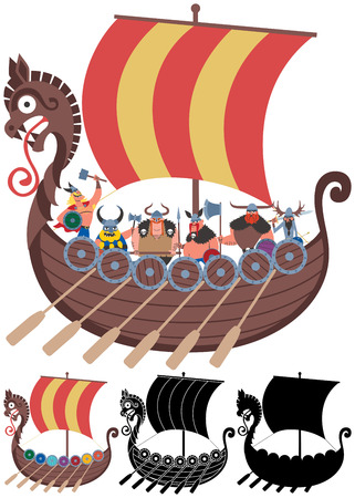 Cartoon Viking ship in 4 versions  No transparency and gradients used  Vector