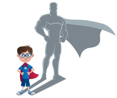 Conceptuele illustratie van de kleine jongen met superhelden schaduw