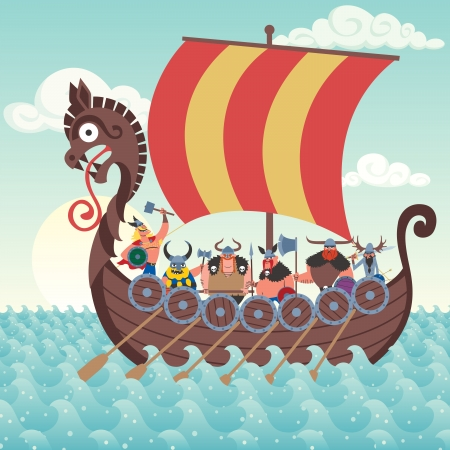 navy ship: Cartoon Viking ship sailing.