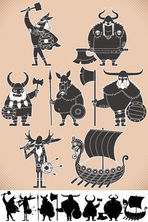 bully: Conjunto de dibujos animados siluetas vikingos, cada uno en 2 versiones. No hay transparencia y degradados utilizados.
