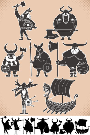 scandinavian people: Set of cartoon Viking silhouettes, each in 2 versions. No transparency and gradients used.