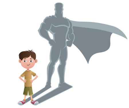 Conceptuele illustratie van de kleine jongen met superheld schaduw.