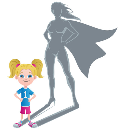 shadow people: Conceptual illustration of little girl with superheroine shadow.