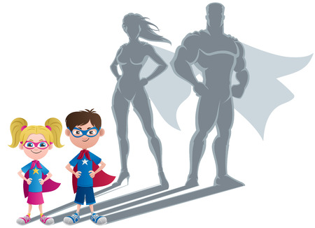 Conceptual illustration of little children with superhero shadows.  Vector