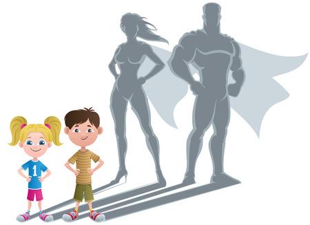 スーパー ヒーローの影と小さな子供たちの概念図。
