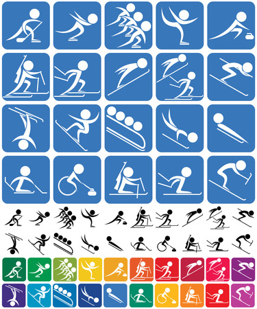 Set van 20 pictogrammen van de Olympische wintersporten, in 3 versies. Geen transparantie en gradiënten. Stock Illustratie