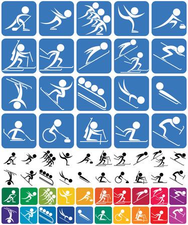Set von 20 Piktogrammen der olympischen Wintersportarten, in 3 Versionen. Keine Transparenz und Farbverläufe verwendet.