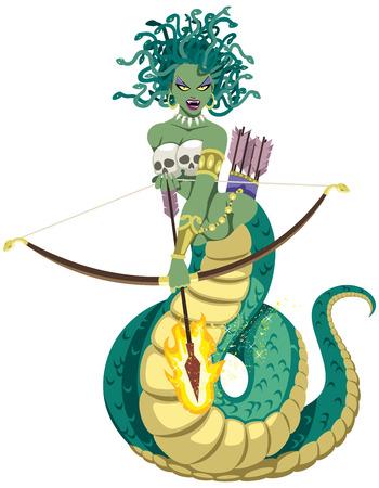 La mitica Gorgone Medusa su sfondo bianco. Senza trasparenza e sfumature utilizzate.