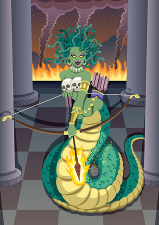 devastating: The mythical Gorgon Medusa devastating temple of her mortal enemy - the goddess Athena.  No transparency used. Basic (linear) gradients.