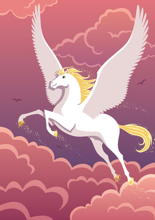 soaring: The winged horse Pegasus soaring in the sky. No transparency used. Basic (linear) gradients.    Illustration