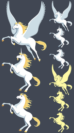 Pegasus, unicorn and stallion clip art. Silhouette versions and pure white versions are also included. No transparency and gradients used. Vector
