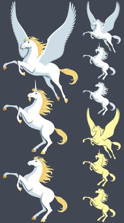 pegaso: Pegasus, unicornio y semental imágenes prediseñadas. También se incluyen versiones de la silueta y versiones de color blanco puro. No hay transparencia y degradados utilizados.