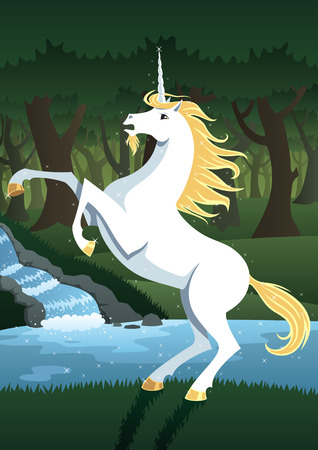 Unicorn near forest spring  No transparency used  Basic  linear  gradients  Vector