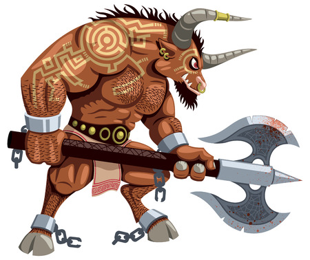 ancient greek: Minotaur over white background  No transparency and gradients used  Illustration
