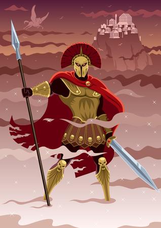 Ares, god van de oorlog Geen transparantie gebruikt Basic lineaire gradiënten Stock Illustratie