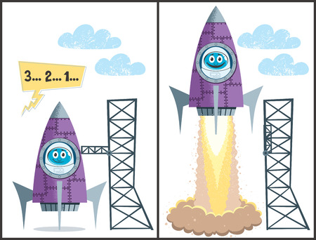 Comics about rocket taking off. No transparency and gradients used. Vector