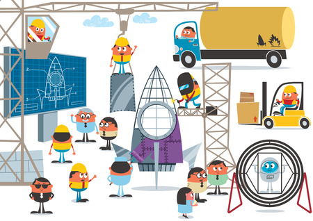 site preparation: Team of characters preparing for space flight. No transparency and gradients used.   Illustration