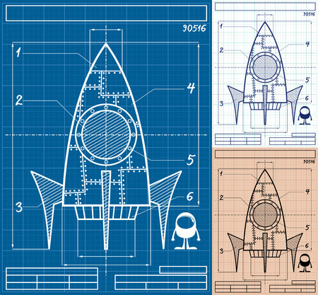 Cartoon blueprint of rocket ship in 3 versions. No transparency and gradients used.