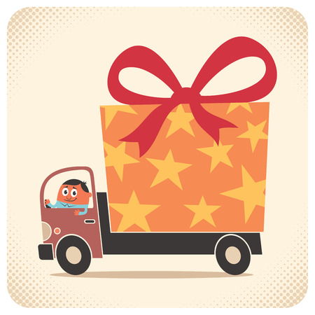 delivers: Truck driver delivers gift for birthday or some other special occasion. No transparency and gradients used. Illustration