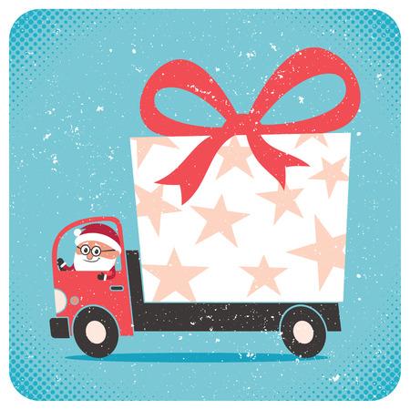 Santa bringing gift. No transparency and gradients used.