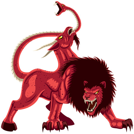 The mythical monster Chimera over white background No transparency and gradients used