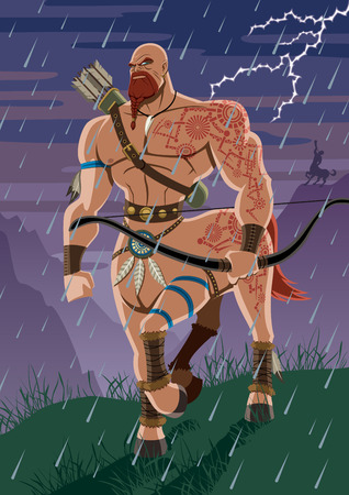 warlike: Centaur walking in the rain. No transparency used. Basic (linear) gradients.