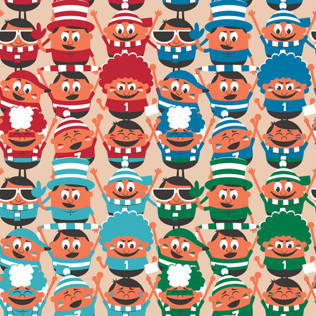 football party: Seamless pattern of cheering sport fans cheering for their team. 4 color versions are included. No transparency and gradients used.  Illustration