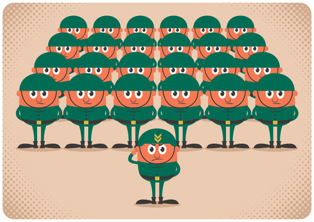 Cartoon army. No transparency and gradients used.  Vector