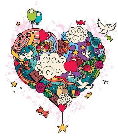 Hand getekende liefde doodle. Geen transparantie en gradiënten. Stockfoto - 29672672