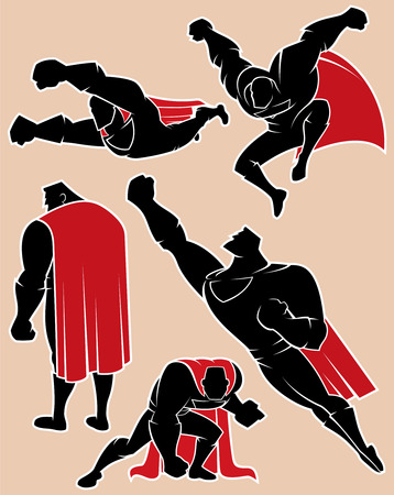 Superhero silhouette in 5 different poses. No transparency and gradients used.  Иллюстрация