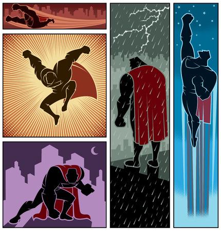 super man: Set of 5 hero banners Illustration