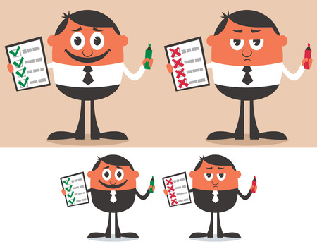 incorrect: Businessman with checklist in 4 versions. No transparency and gradients used.