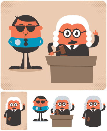 Illustration of cartoon judge in 4 different versions.