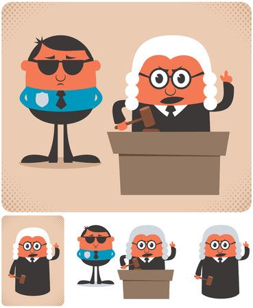 Illustration of cartoon judge in 4 different versions.