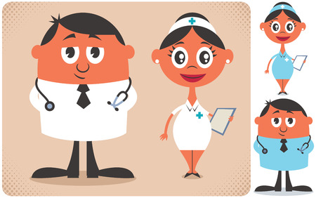 Illustration of cartoon doctor and nurse in 2 color versions. No transparency and gradients used. Vector Illustration