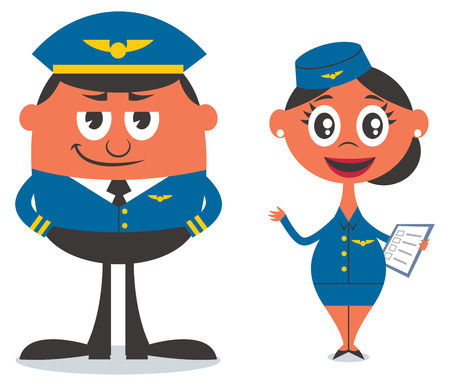 Illustration of cartoon pilot and air hostess Vector