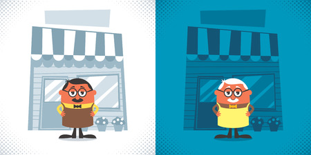 Illustration of cartoon shopkeeper in 2 color versions
