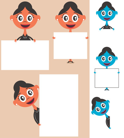 Set of cartoon illustrations of businesswoman behind sign with copy space. No transparency and gradients used.  Vector