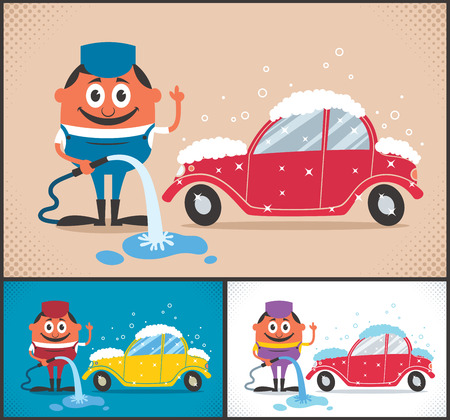 Cartoon character washing car. The illustration is available in 3 different color versions. No transparency and gradients used. Vector