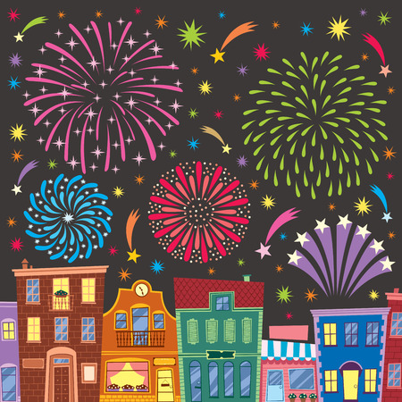 Fireworks above cartoon city. No transparency and gradients used.