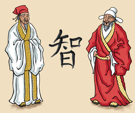 chinese philosophy: illustration of Chinese elders. No transparency and gradients used.