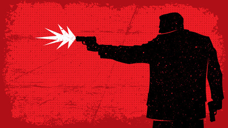 the criminal: Illustration of man shooting with pistol. No transparency and gradients used.