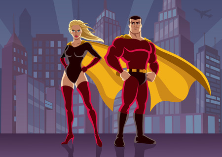 comic book: Male and female superheroes, posing in front of cityscape. No transparency used. Basic (linear) gradients used for the background. A4 proportions.